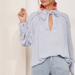 Free People Wishful Moments Tie Neck Blue Blouse